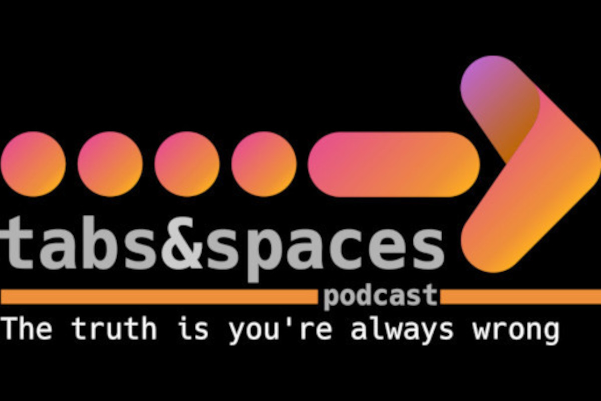 The Tabs and Spaces podcast logo: a series of dots and an arrow representing four space characters and a tab character